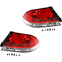 Driver and Passenger Side Tail Light, Without bulb(s) - Clear & Red Lens, ES/LS Models, Sedan