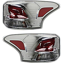 Driver and Passenger Side Tail Light, With bulb(s) - Clear & Red Lens, Standard Type