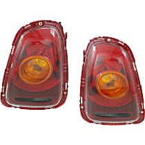 Driver and Passenger Side Tail Light, With bulb(s) - Amber Lens, Yellow Turn Indicator, Hatchback/Convertible 09-10
