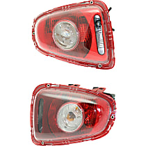 Driver and Passenger Side Tail Light, With bulb(s) - Clear Lens, White Turn Indicator, Hatchback/Convertible 09-10