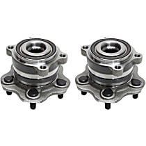 Rear, Driver and Passenger Side Wheel Hub With Bearing - Set of 2