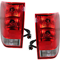 Driver and Passenger Side Tail Light, With bulb(s) - Clear & Red Lens, w/o Utility Compartment