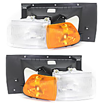 Driver and Passenger Side Headlight, With bulb(s) - Except Sealed Beam, Clear & Amber Lens