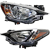 Driver and Passenger Side Headlights, With bulb(s) - (Base/L/LE/Premium Model), Sedan