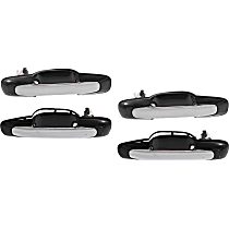 Exterior Door Handle - Front and Rear, Driver and Passenger Side, Smooth Black Bezel with Chrome Lever