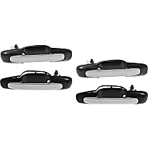 Front and Rear, Driver and Passenger Side Exterior Door Handle, Chrome Lever with Smooth Black Bezel