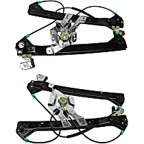 Front, Driver and Passenger Side Power Window Regulator, Without Motor, With Finger Protection, Sedan/Wagon