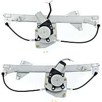 Rear, Driver and Passenger Side Power Window Regulator, With Motor - Sedan