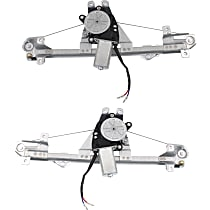 Rear, Driver and Passenger Side Power Window Regulator, With Motor - Convertible