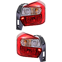 Driver and Passenger Side Tail Light, With bulb(s) - Clear & Red Lens, Wagon