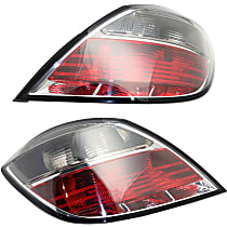 Driver and Passenger Side Tail Light, Without bulb(s) - Clear & Red Lens, Hatchback