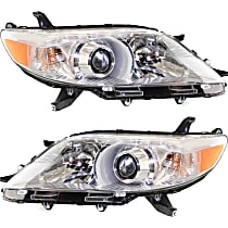Driver and Passenger Side Halogen Headlights, With bulb(s) - 11-14 Sienna (Base/L/LE/Limited/XLE)/ 15-19 w/o LED DRL, CAPA CERTIFIED