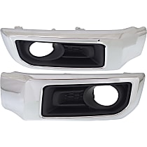 Fog Light Trim - Driver and Passenger Side, Primed, with Chrome Trim