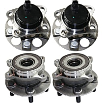 Front and Rear, Driver and Passenger Side Wheel Hub With Bearing - Set of 4
