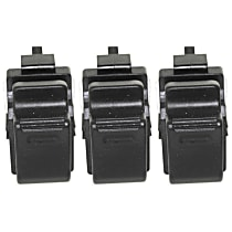 Window Switch - Driver and Passenger Side, Black, 1-Button, Set of 3