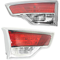 Driver and Passenger Side, Inner Tail Light, With bulb(s) - Clear & Red Lens; Chrome Interior