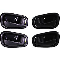 Front and Rear, Driver and Passenger Side Interior Door Handle, Black, w/ Manual Door Locks, w/o Lock Hole