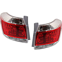 Driver and Passenger Side Tail Light, With bulb(s) - Clear & Red Lens, Exc. Hybrid Model, USA Built