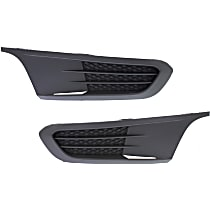 Front, Driver and Passenger Side Fog Light Cover, Black