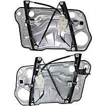 Front, Driver and Passenger Side Manual Window Regulator, Manual Crank Type
