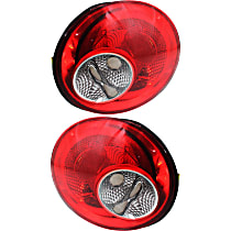 Driver and Passenger Side Tail Light, Without bulb(s) - Clear & Red Lens