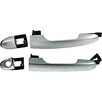Front, Driver and Passenger Side Exterior Door Handle, Silver