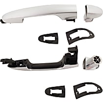 Front and Rear, Driver Side Exterior Door Handle, Silver