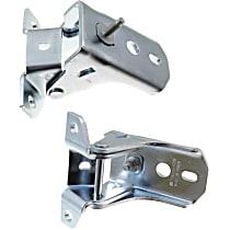 Door Hinge - Front, Driver and Passenger Side, Upper, Chrome, Direct Fit, Set of 2