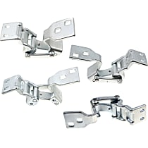Door Hinge - Driver and Passenger Side, Upper and Lower - Back Door, Chrome, Direct Fit, Set of 4