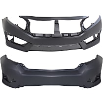 Bumper Cover - Front and Rear, 2 Pieces, Primed, For Sedan, US Built Models