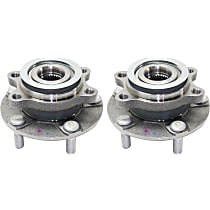 Front, Driver and Passenger Side Wheel Hub With Bearing - Set of 2