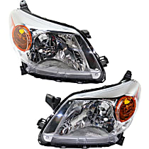 CAPA Certified Driver and Passenger Side Halogen Headlight, Without bulb(s)
