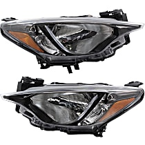 Driver and Passenger Side Headlights, Without bulb(s) - 2016 iA/16-18 Yaris (Base/L/LE/Premium Model), Sedan