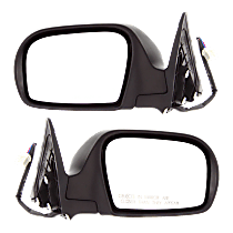 Power Mirror, Driver and Passenger Side, Manual Folding, Heated, Textured Black