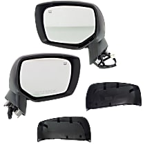 Kool Vue Power Mirror, Driver and Passenger Side, Manual Folding, Heated, w/o Signal, 2 Caps - Paintable & Textured Black