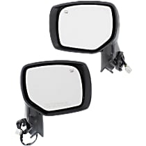 Driver and Passenger Side Heated Mirror - Power Glass, Manual Folding, Without Signal Light, Without memory, With 1 Paintable and 1 Textured Black Cap