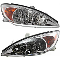 Driver and Passenger Side Halogen Headlights, With bulb(s) - 02-04 Camry (LE/XE Models)