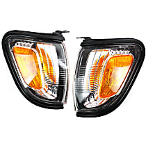 Driver and Passenger Side Corner Light, With bulb(s) - With Black Trim