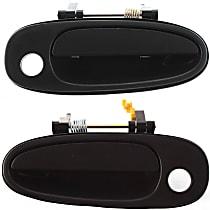 Front, Driver and Passenger Side Exterior Door Handle, Smooth Black, 4-Door Model, w/ Keyhole