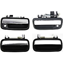 Front and Rear, Driver and Passenger Side Exterior Door Handle, Black bezel with chrome lever