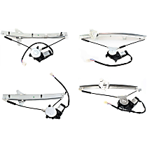 Front and Rear, Driver and Passenger Side Power Window Regulator, With Motor, Sedan
