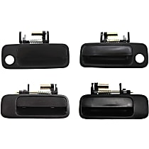 Front and Rear, Driver and Passenger Side Exterior Door Handle, Smooth Black