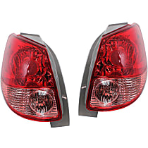 Driver and Passenger Side Tail Light, Without bulb(s) - Pink & Red Lens