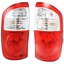 Replacement Halogen Tail Light, Driver And Passenger Side, Fits Double Cab w/ Standard Bed, With Bulb(s), Clear & Red Lens