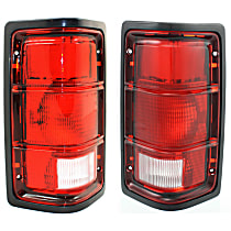 Driver and Passenger Side Tail Light, Without bulb(s) - Excluding Bulbs/Socket, w/ Black Outer Trim, w/o Chrome Inner Stripes