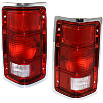 Driver and Passenger Side Tail Light, Without bulb(s) - Excluding Bulbs/Socket, w/ Chrome Outer Trim, w/o Chrome Inner Stripes
