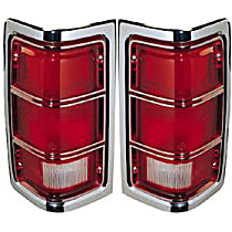 Driver and Passenger Side Tail Light, Without bulb(s) - Clear & Red Lens, w/ Chrome Trim