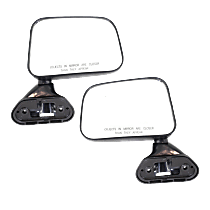 Manual Mirror, Driver and Passenger Side, Fits Models w/o Vent Window, Manual Folding, Door Mount, Textured Black