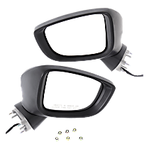 Driver and Passenger Side Non-Heated Mirror - Power Glass, Manual Folding, In-housing Signal Light, Without memory, Paintable