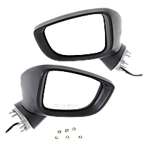 Driver and Passenger Side Non-Heated Mirror - Power Glass, Manual Folding, Without memory, Paintable